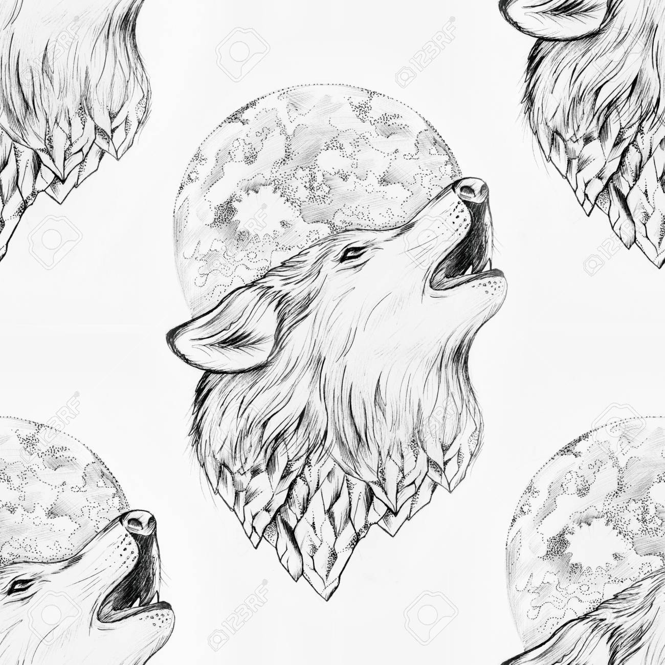 Seamless Drawing Of A Wolf Howling At The Moon On A White Background