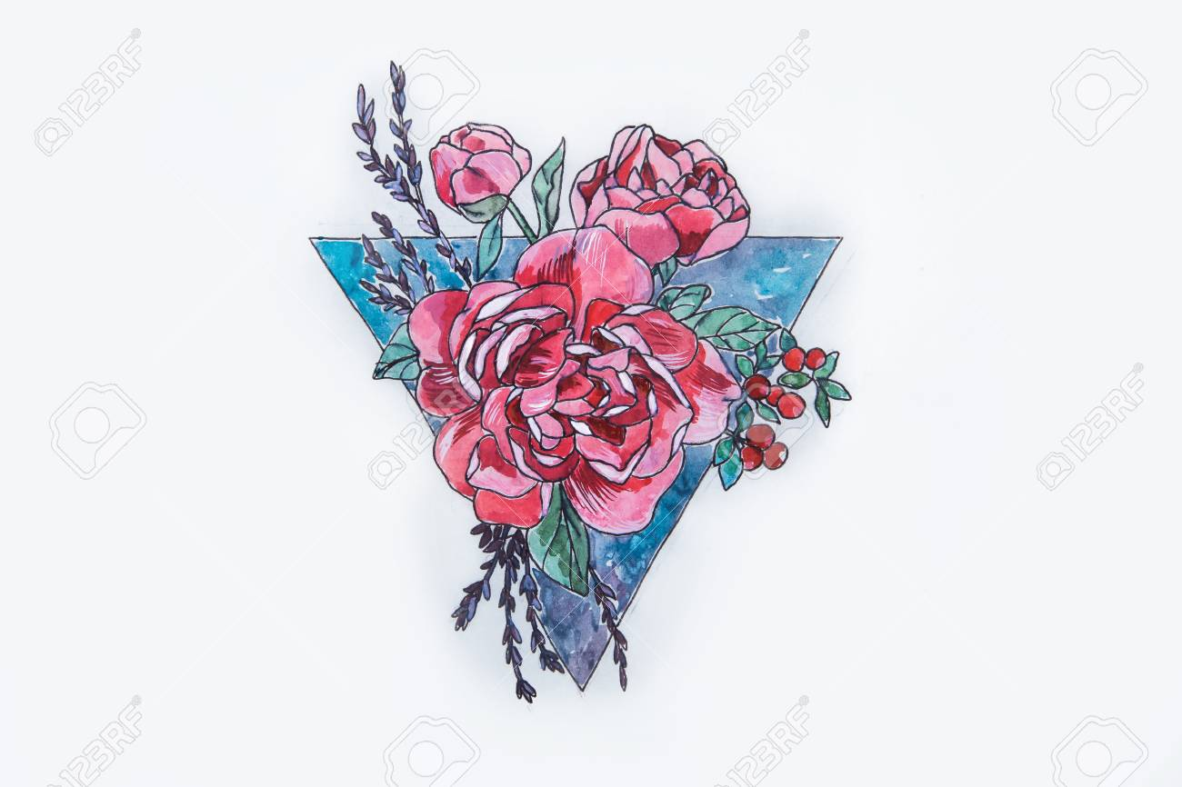 A Sketch Of A Beautiful Red Rose And Triangle On A White Background