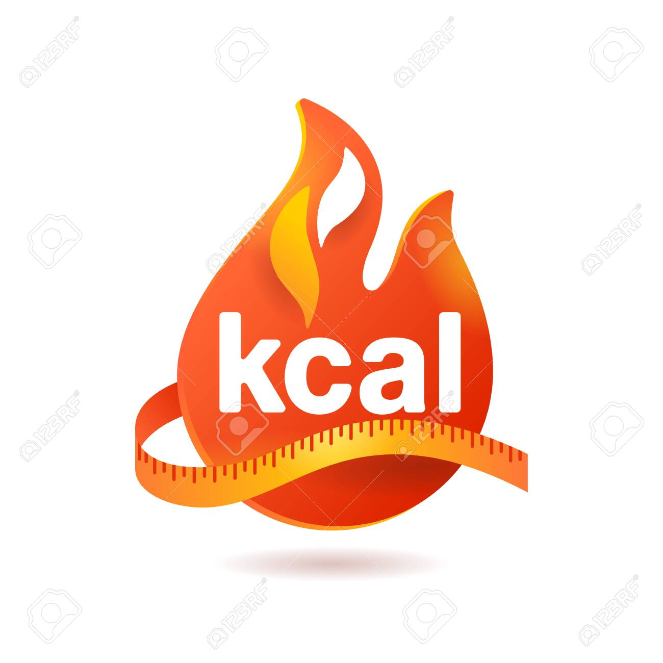 kcal icon - kilocalorie symbolic emblem for food products cover designation - fat burning visual - isolated vector element - 153330499