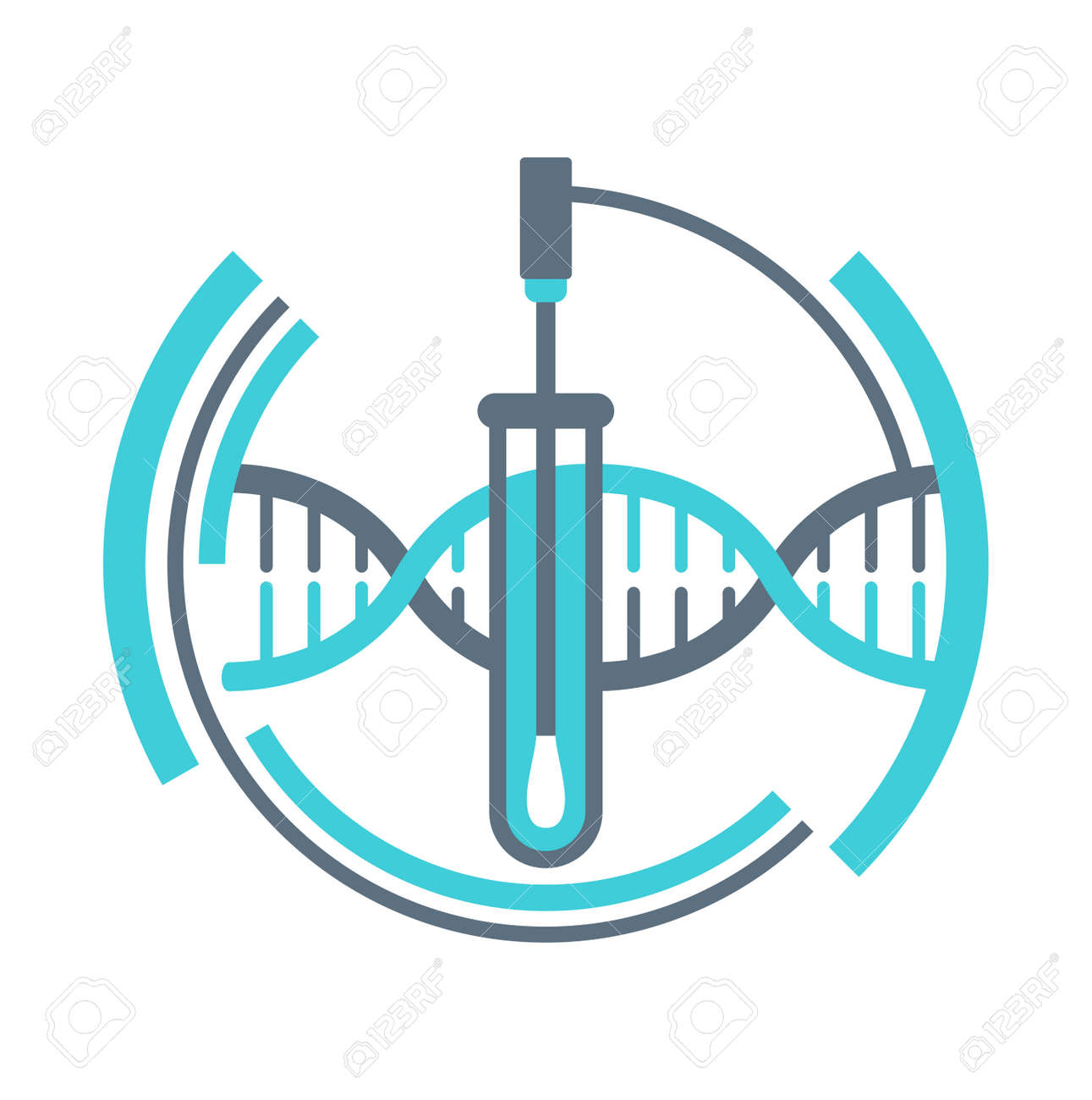 PCR testing icon with swab stick and test tube - polymerase chain reaction - disease prevention and fight against coronavirus pandemic - vector emblem - 160658971