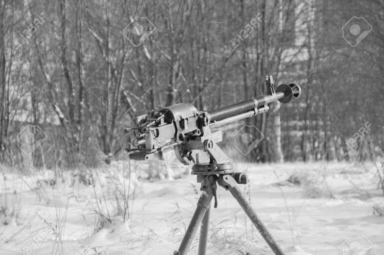 Black and white a heavy machine gun of world war ii stock photo
