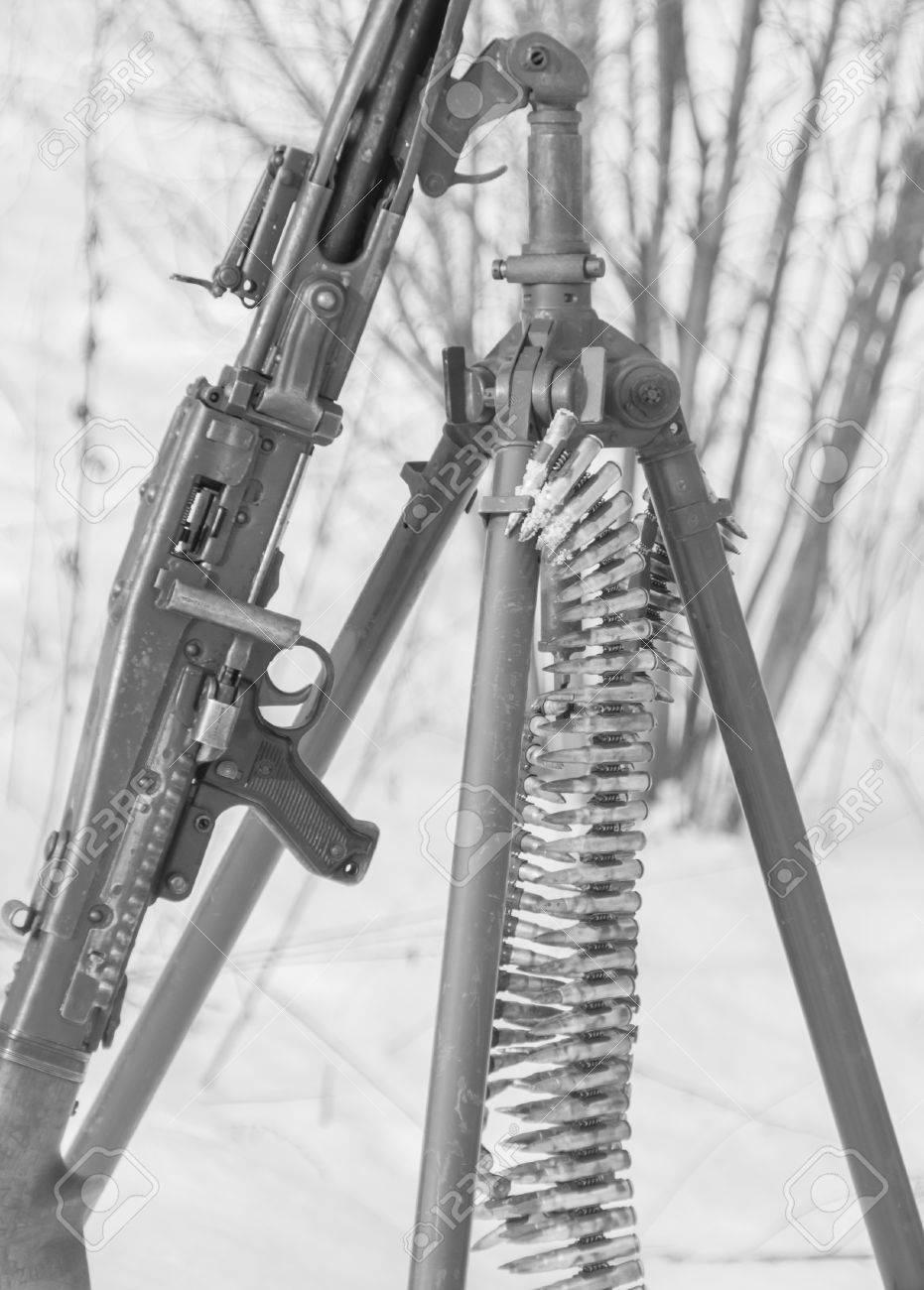 Black and white german machine gun world war ii stock photo 74136945