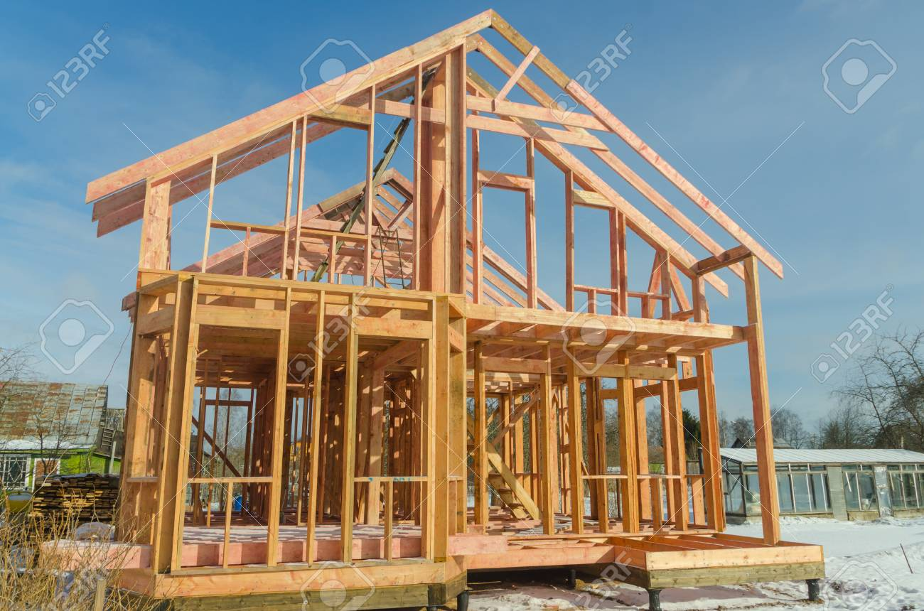 Base, Frame Of A Wooden House, Racks And Partitions Stock Photo ...
