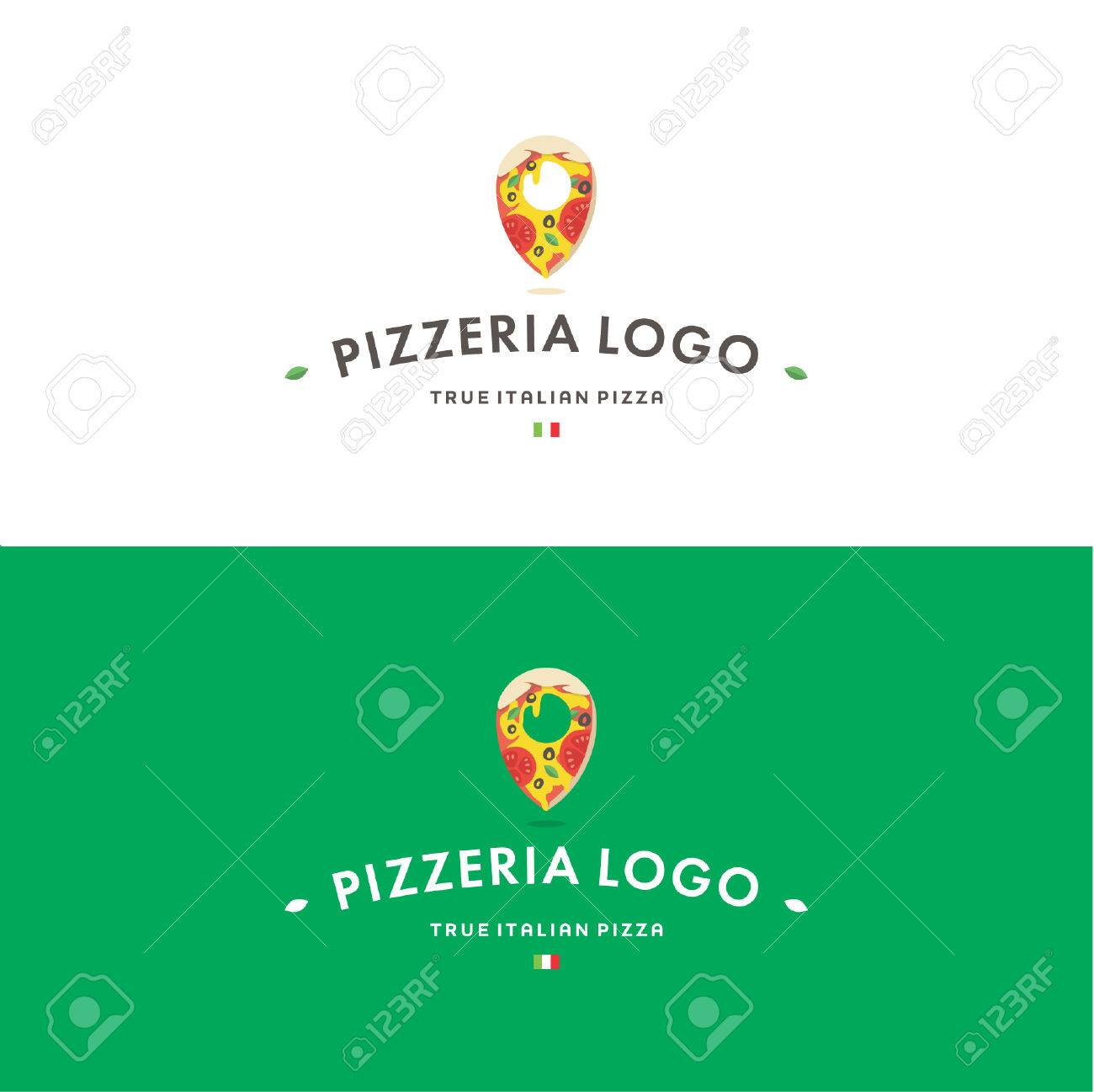 Pizzeria Logo Template Tasty Delicious Pizza And Pin With Italian
