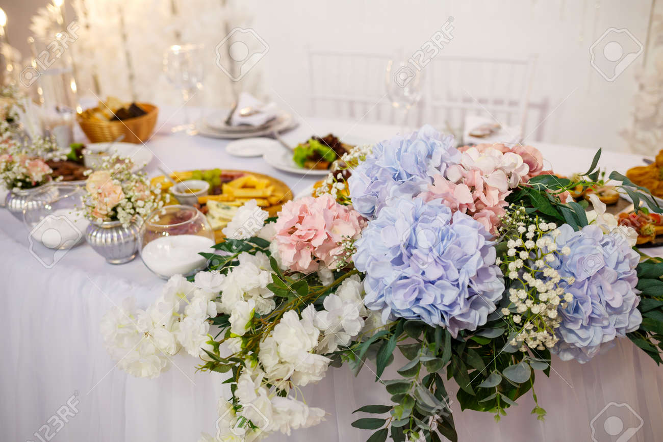 Wedding table for newlyweds with beautiful decorations - 155097231