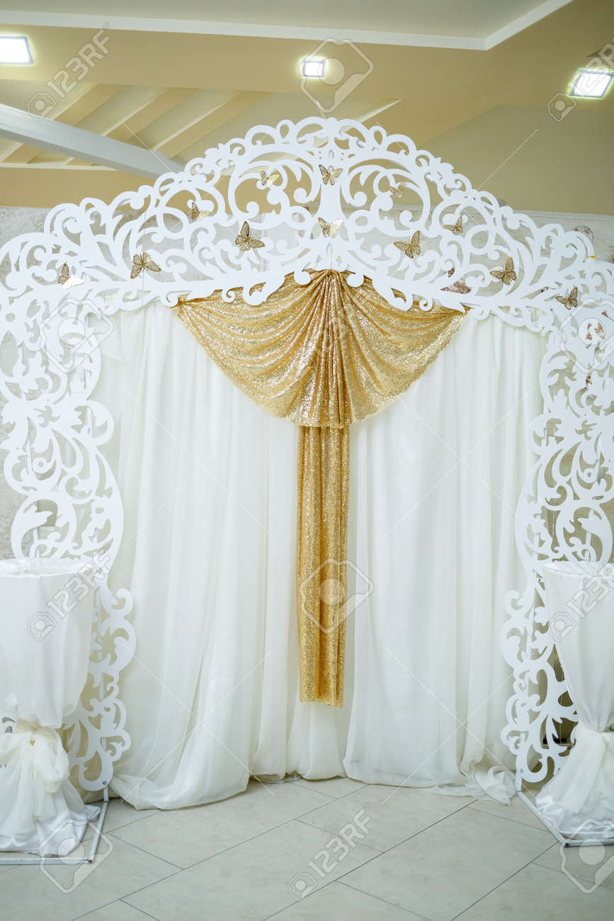 Wedding beautiful arch for the wedding ceremony of the newlyweds - 156567059