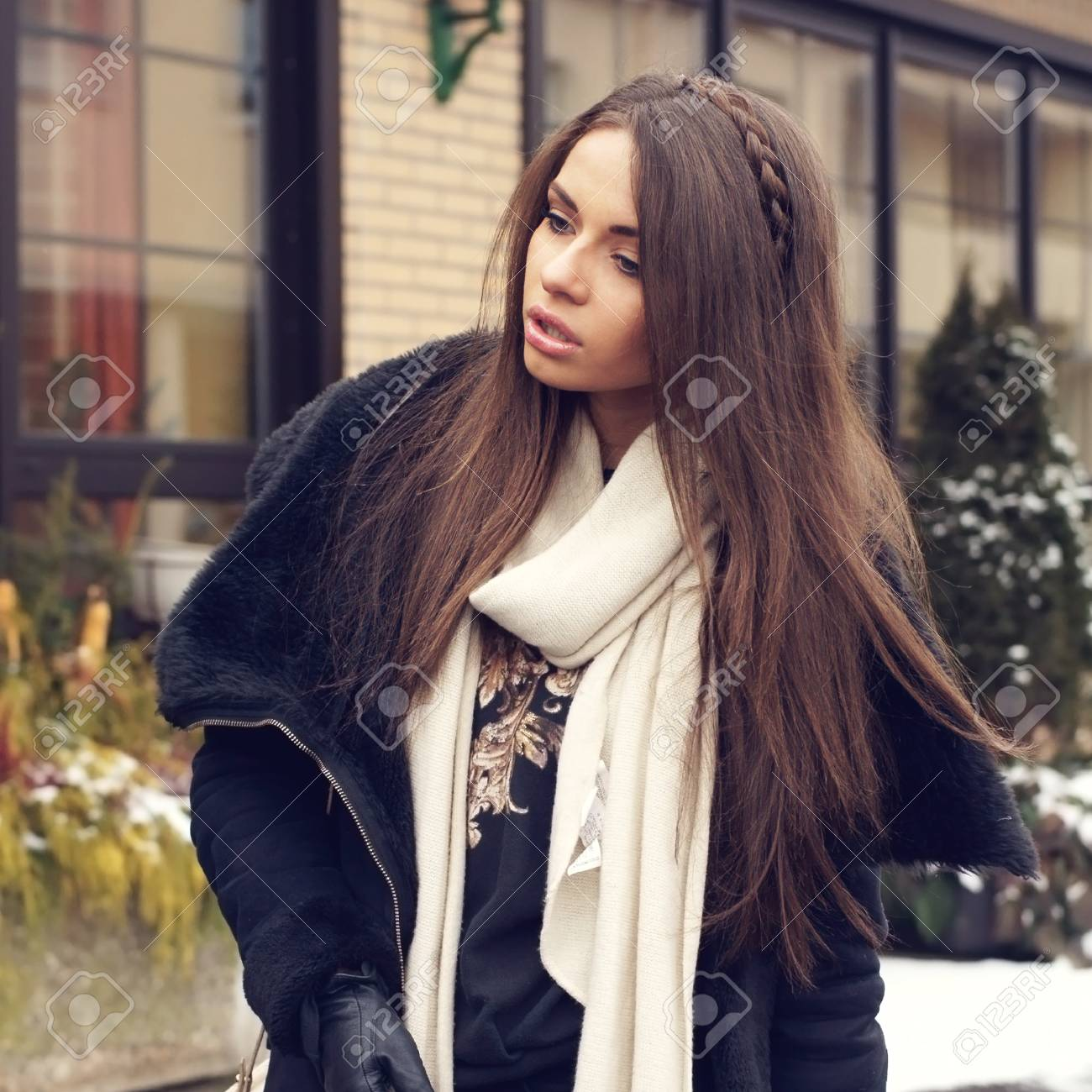 a4e438caa Portrait Of Stylish Young Girl In Black Clothes Stock Photo
