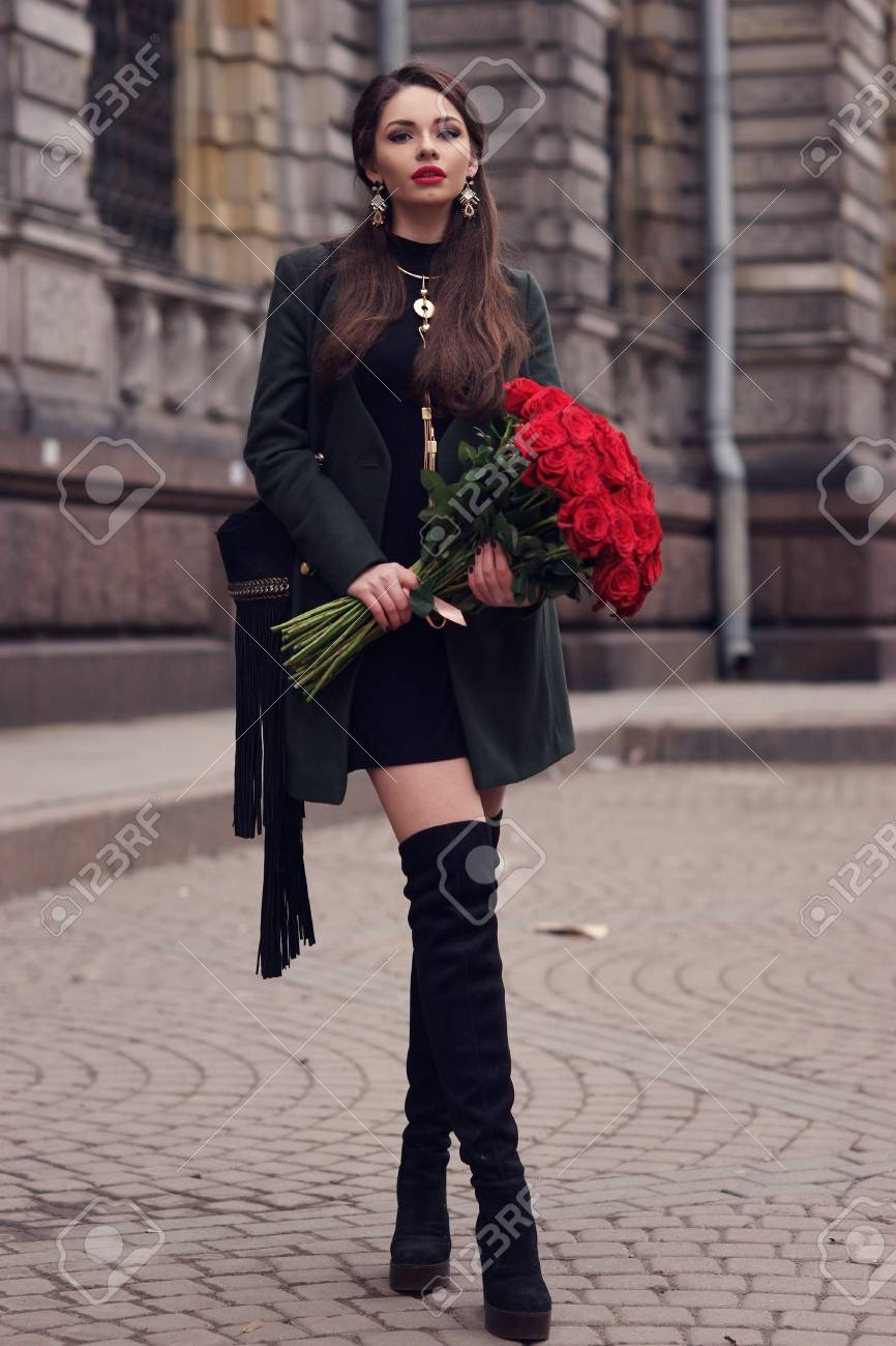 Robe verte veste noire