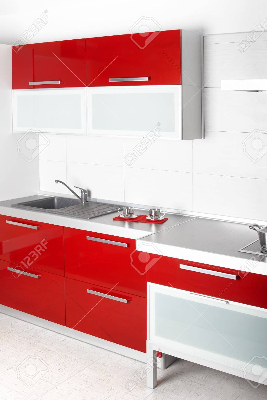 Modern red professional kitchen, and eqipment Stock Photo - 3413723