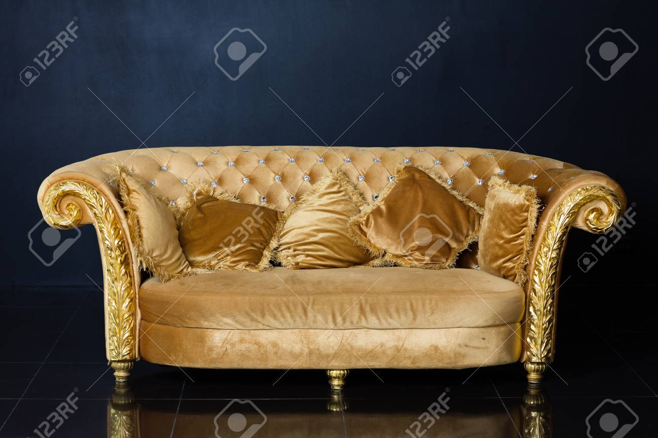 Superieur Luxury Golden Sofa On A Black Background Stock Photo   70268372
