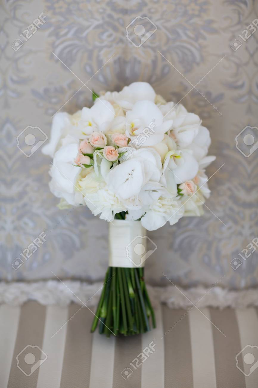 Wedding Bouquet Of White Orchids Stock Photo Picture And Royalty