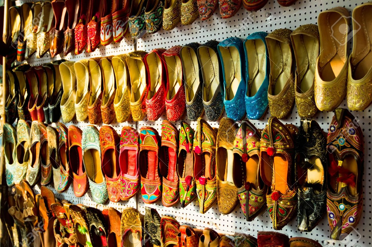 80c6df62a572 Multicolored Traditional Indian shoes Stock Photo - 12889644