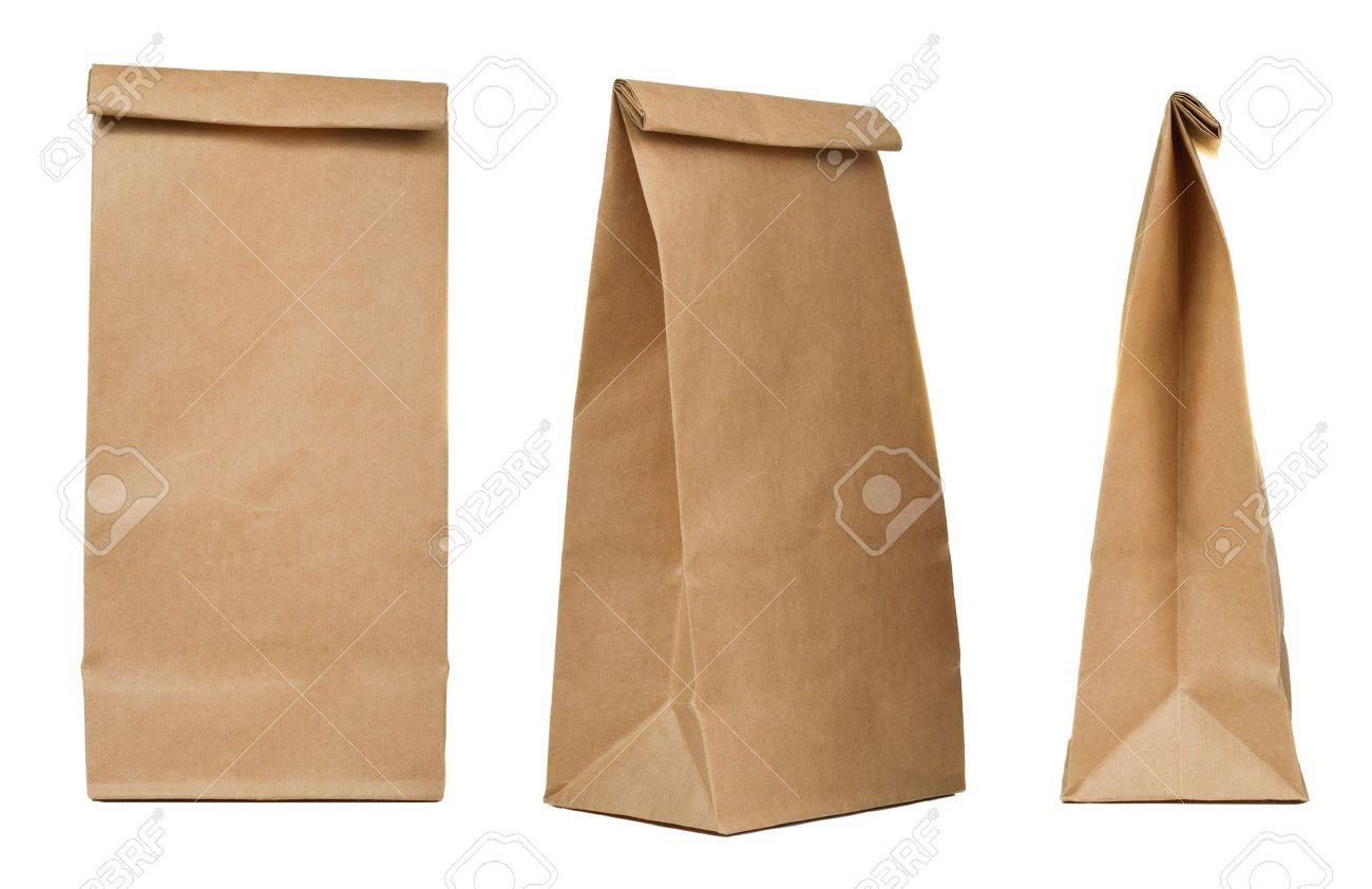 Brown paper bag set isolated on white background Stock Photo - 20663785