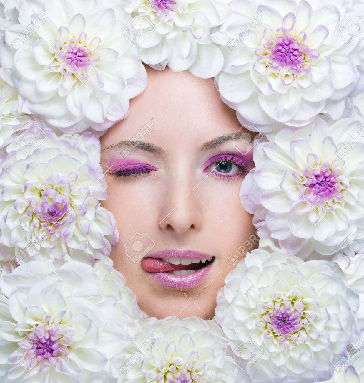 Beauty girl with white flowers around her face dahlia flowers beauty girl with white flowers around her face dahlia flowers beautiful makeup beauty concept stock photo izmirmasajfo