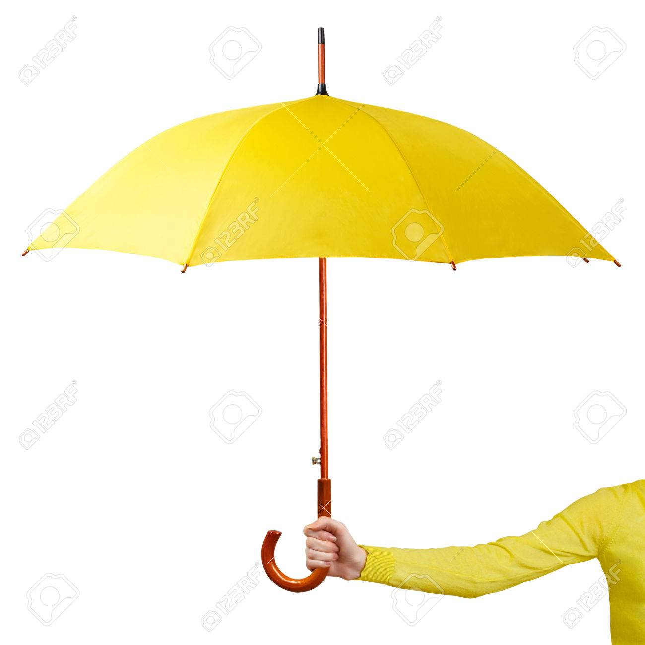 Hand holding a yellow umbrella isolated on white background - 25751241