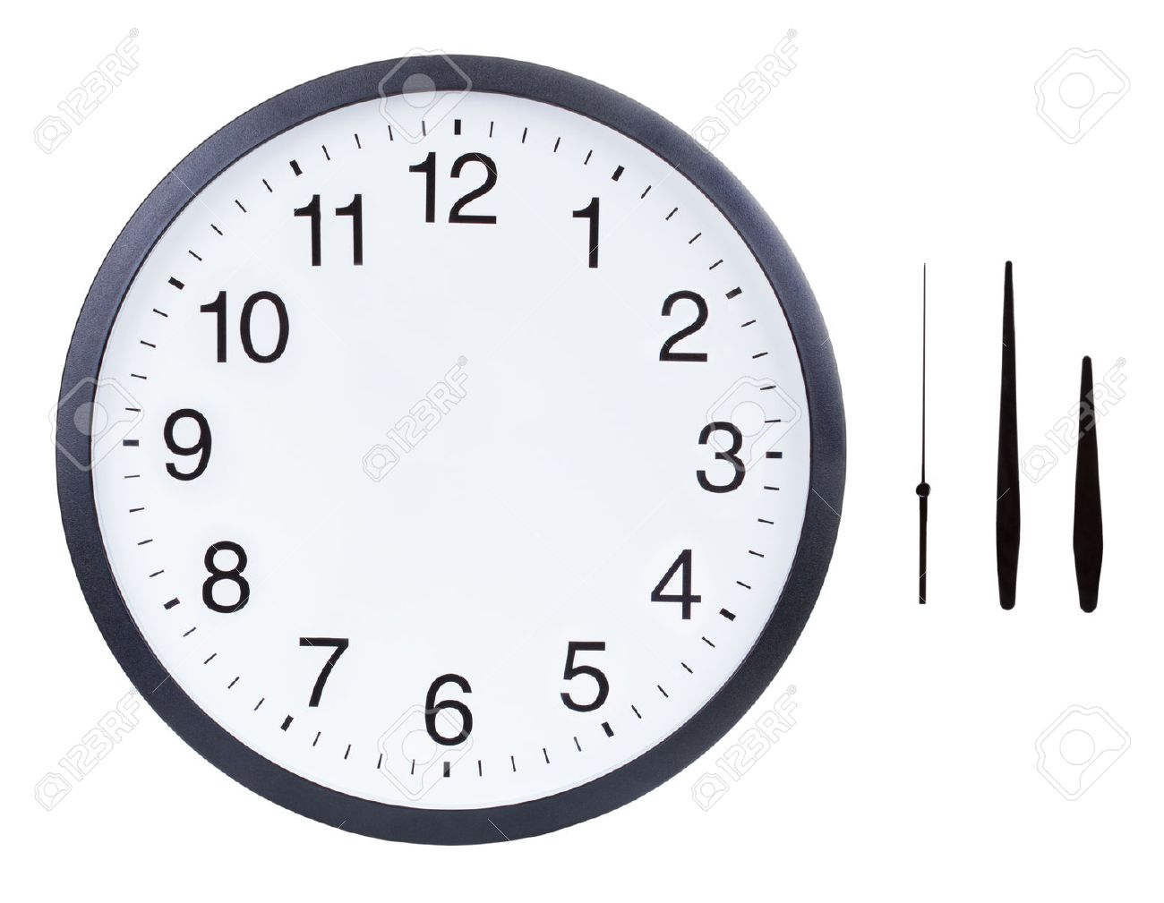 picture relating to Printable Clock Face With Hands named Blank clock deal with with hour, instant and moment arms isolated..