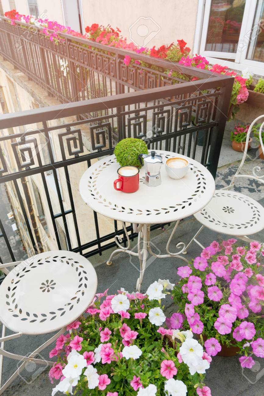 Beautiful Balcony With Coffee Table Balcony Decorated With Fresh