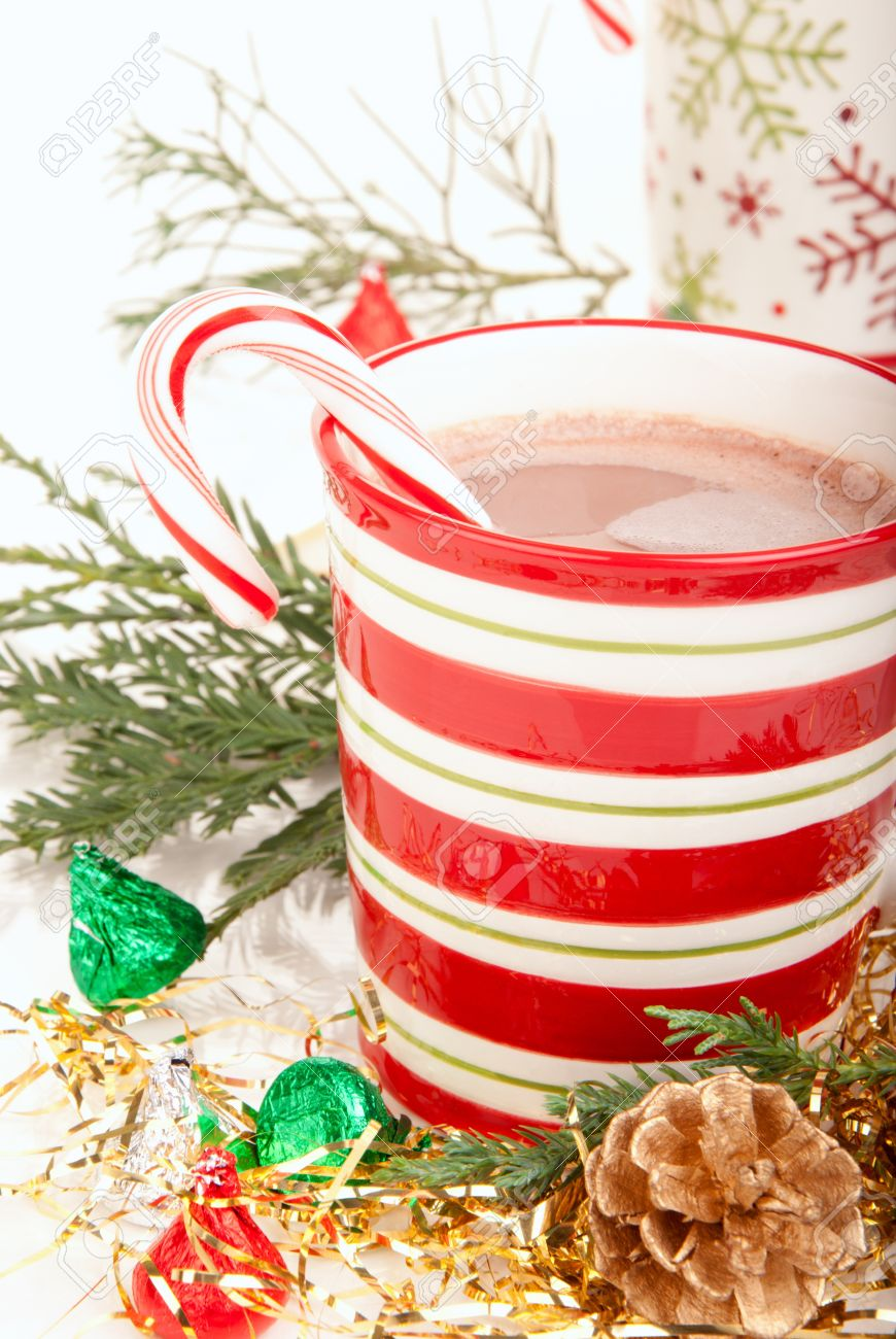 Christmas Cups With Hot Hot Chocolate, Tea, Cocoa, Candy Cane ...