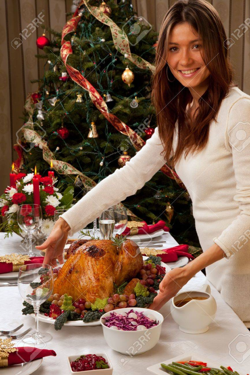 Garnished Roasted Turkey In Young Beautiful Woman Hands Prepared ...