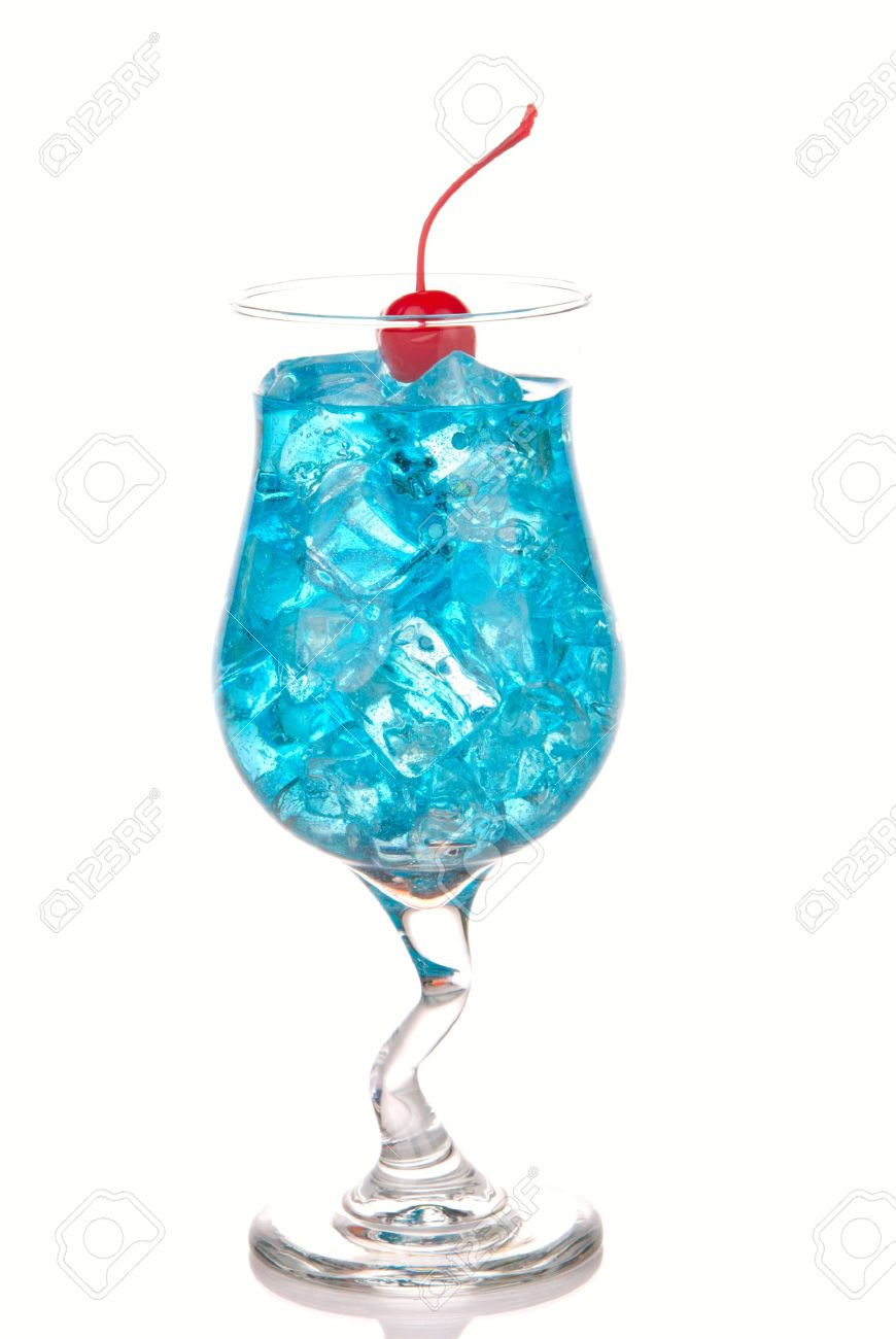 Top Bleu Lagon Cocktail Hawaii Avec Avec Le Rhum Malibu, Curaçao Bleu  KV24