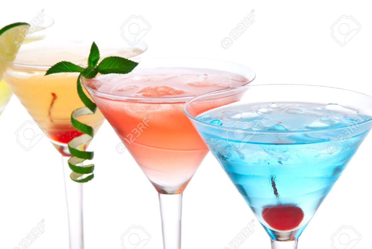 Martini alcohol cocktails in row blue hawaiian, tequila sunrise, garnished with cherry, lime, mint in martinis cocktail glasses on a white background Stock Photo - 9969088