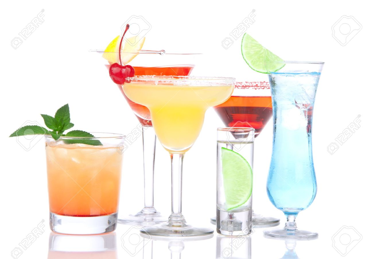 Cocktails alcohol drinks spirits mojito, mai tai, margarita, martini, shot of vodka, blue hawaiian with lemon, lime, cherry, mint in different cocktail glasses on a white background Stock Photo - 10509260