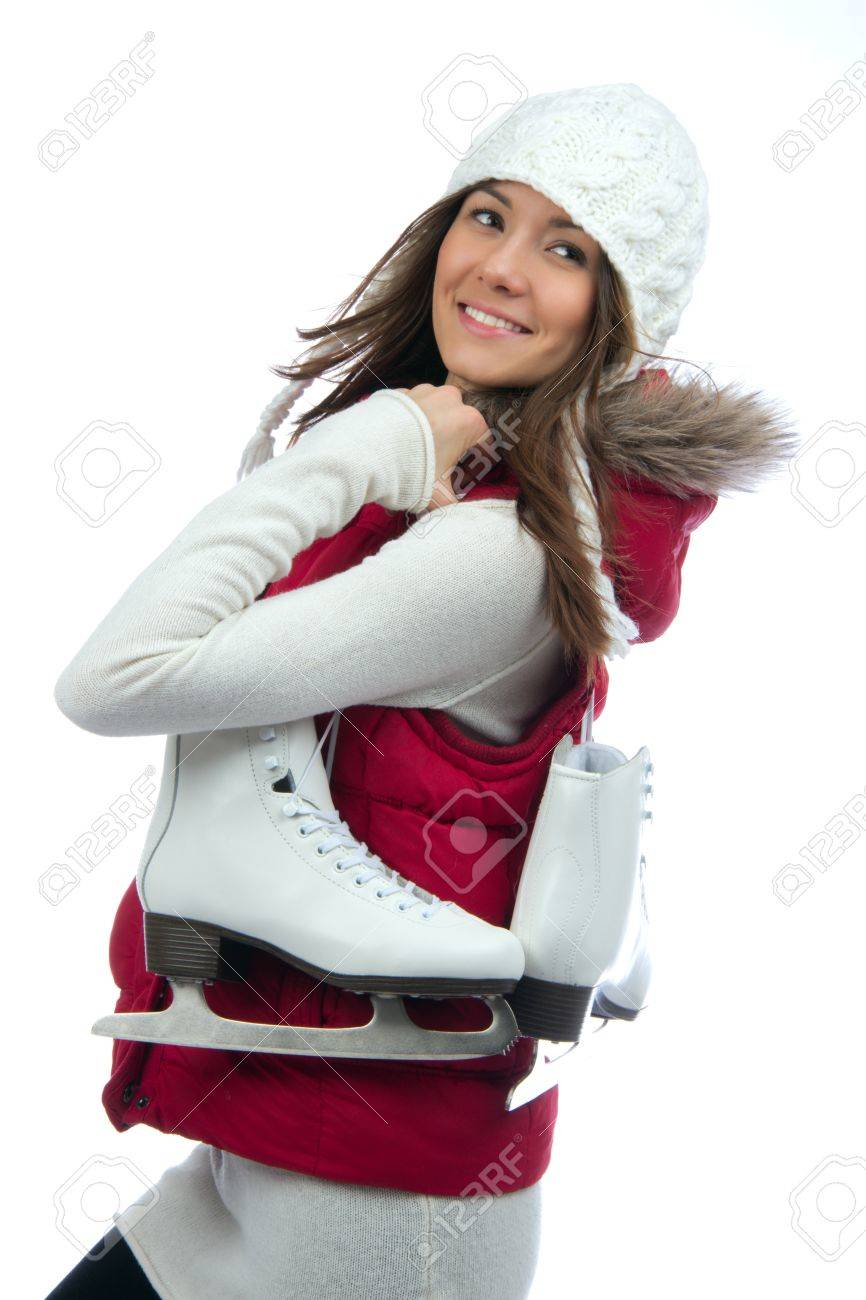 Pretty woman ice skating winter sport activity in white cap smiling facial close-up isolated on a white background Stock Photo - 12118105