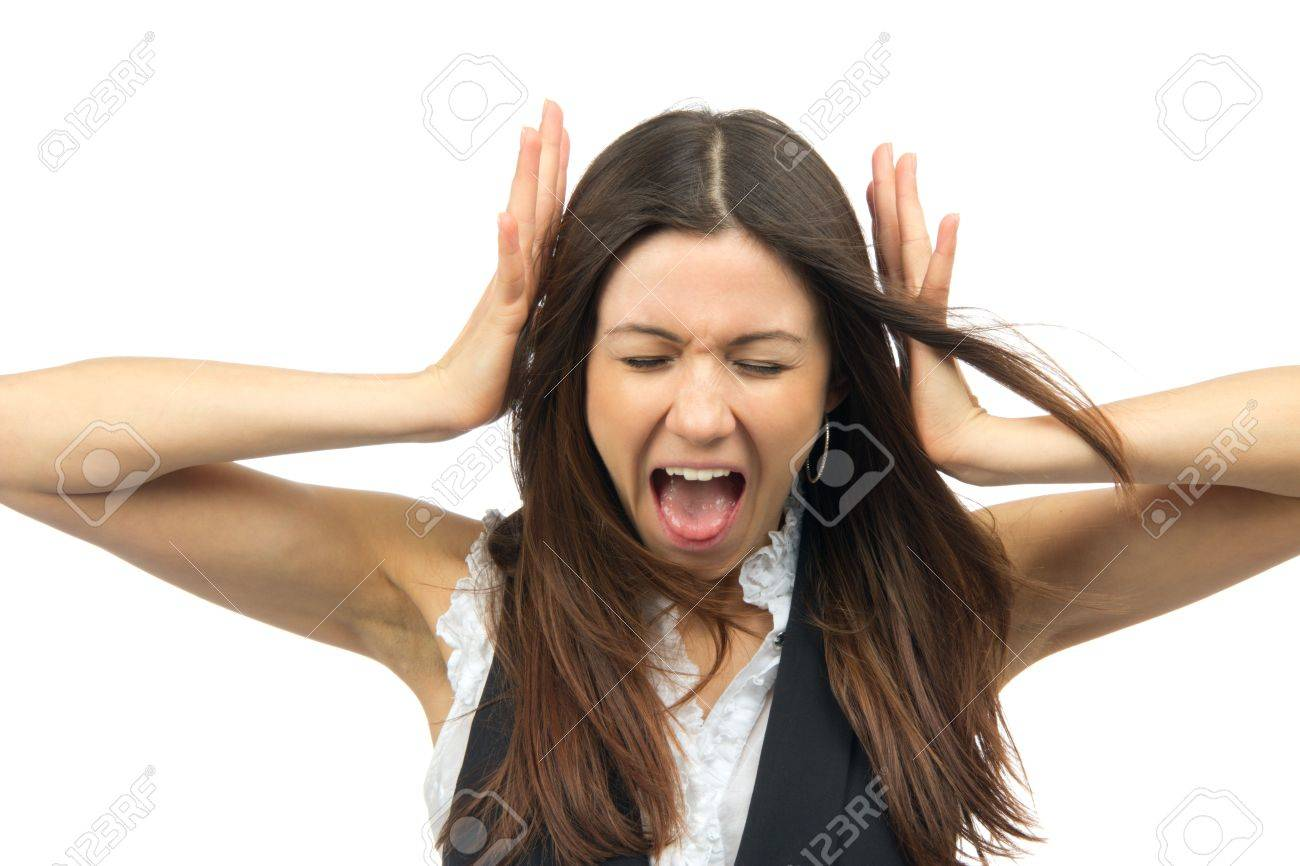 Grimace face clip art stock photo woman pulls a face in upset - Emotions Faces Woman Angry Yelling Frustrated Screaming Out Loud And Pulling Her Hair With Closed