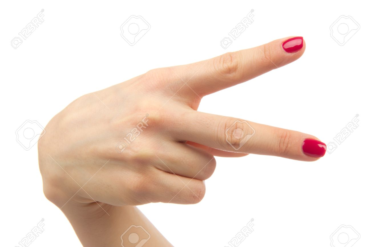 Hand With Two Fingers Up In The Peace Or Victory Symbol The Sign