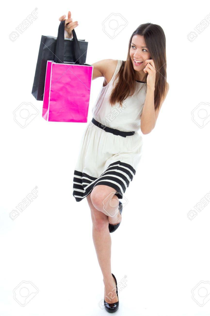 Full Body Happy Schöne Sexy Frau Mit Bunten Einkaufstüten Geschenk ...
