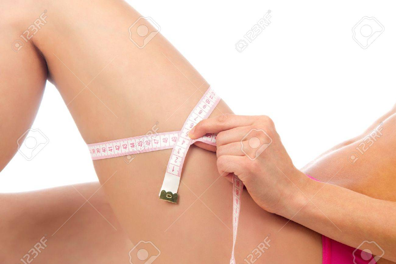 Hip, legs, abdomen and tape measure in hand cellulite liposuction woman weight loss control concept isolated against white background Stock Photo - 13101605