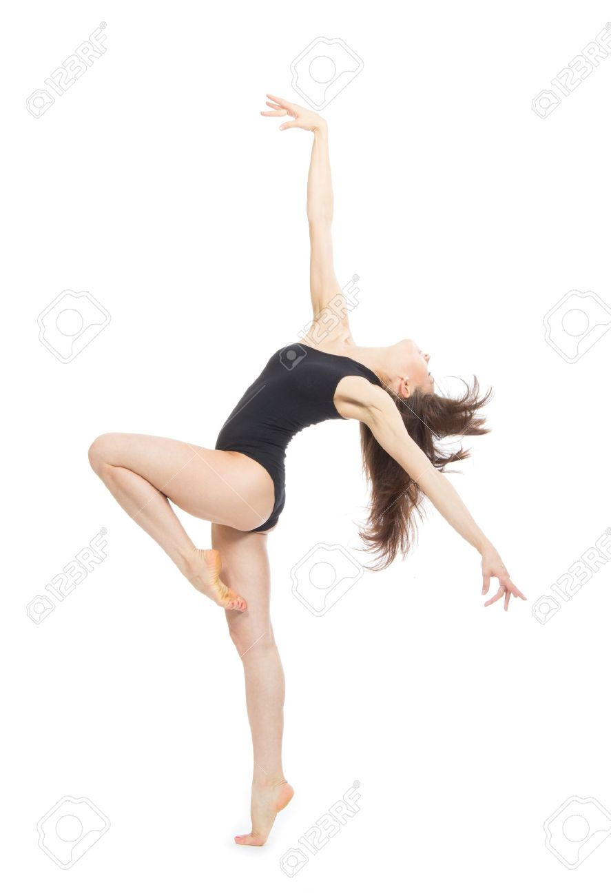 Pretty slim jazz modern contemporary style woman ballet dancer pose isolated on a white studio background - 20275938