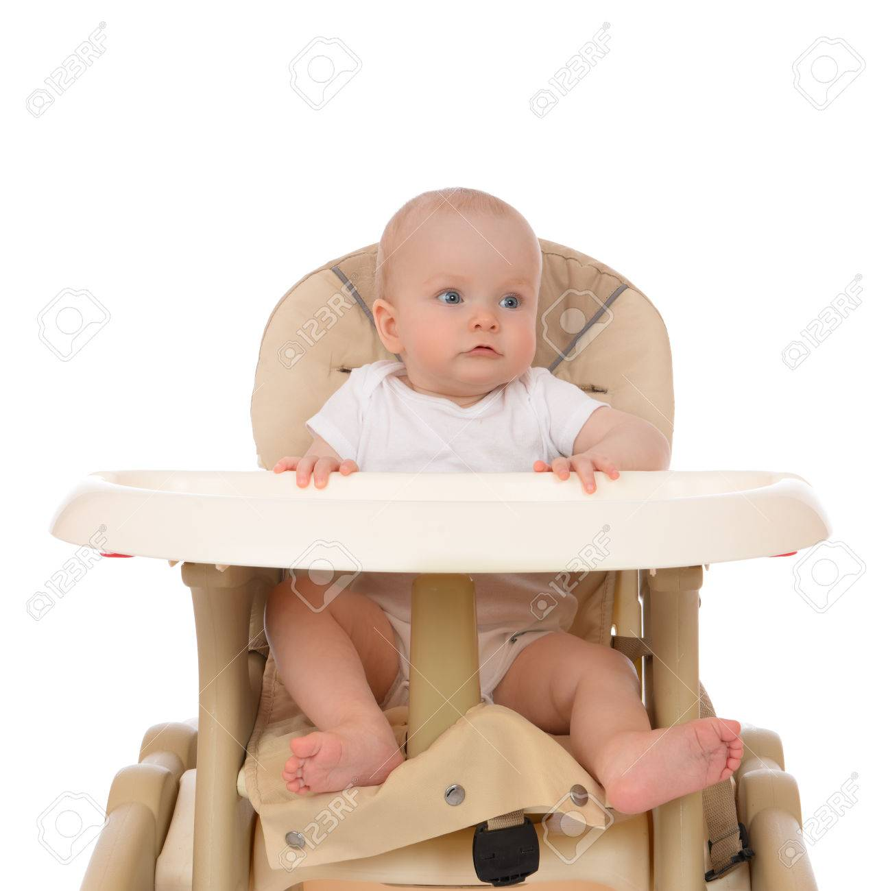 Infant child girl toddler in diaper sitting in baby chair isolated on a white background Stock  sc 1 st  123RF.com & Infant Child Girl Toddler In Diaper Sitting In Baby Chair Isolated ...
