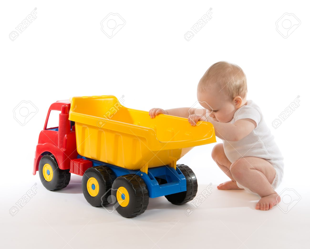 Infant Child Baby Boy Toddler Happy Sitting With Big Toy Car Stock