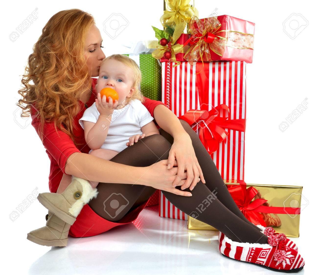 Weihnachten Konzept Des Neuen Jahres. Glückliche Junge Frau Mit ...