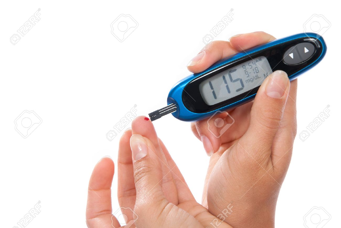 Diabetes patient measuring glucose level blood test isolated on a white background - 40218068