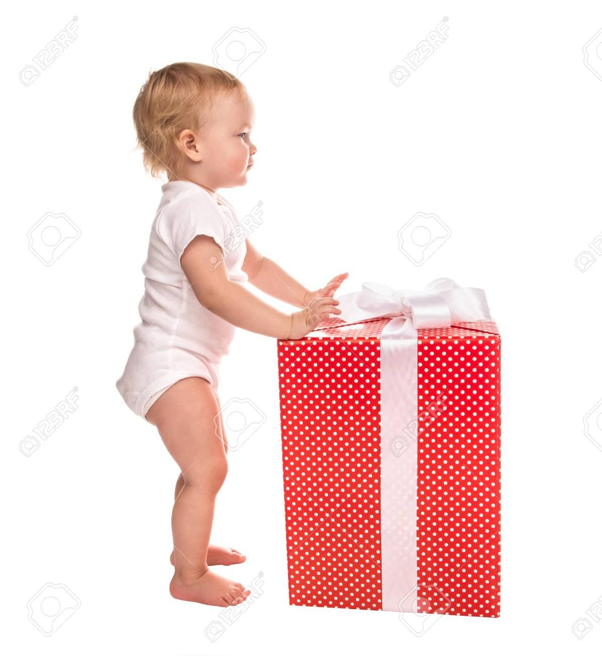 Neue Jahr 2016-Konzept Kind Baby-Kleinkind Mit Weihnachtsgeschenk ...