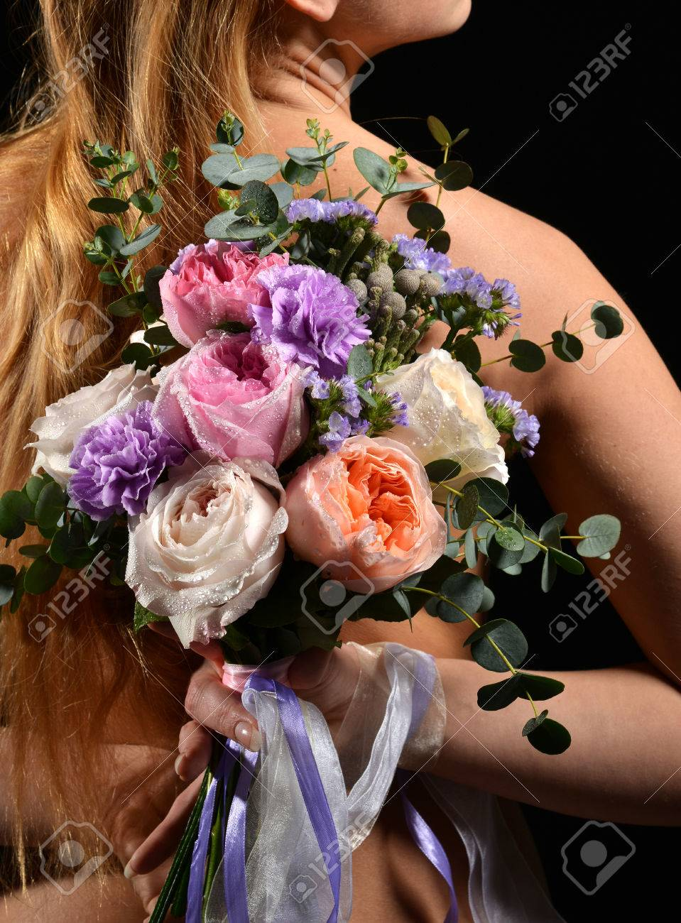Beautiful Woman With Bouquet Of Bright White Pink Purple Roses