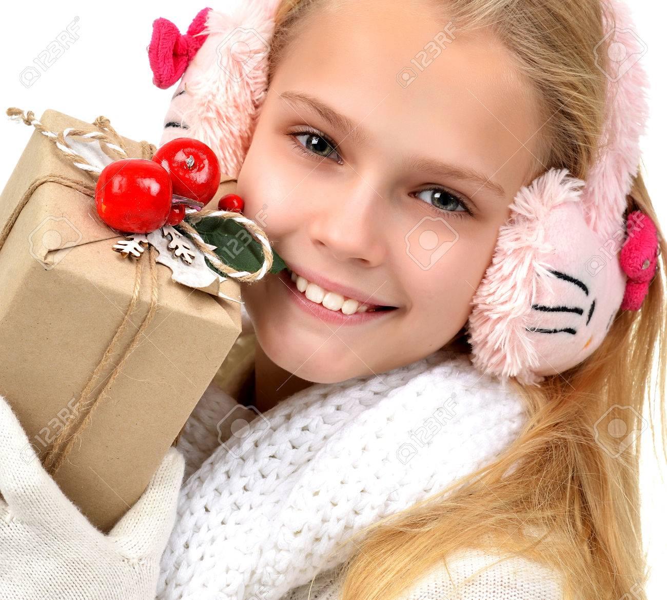 Neues Jahr Holyday Konzept Teenager-Mädchen Mit Weihnachtsgeschenken ...