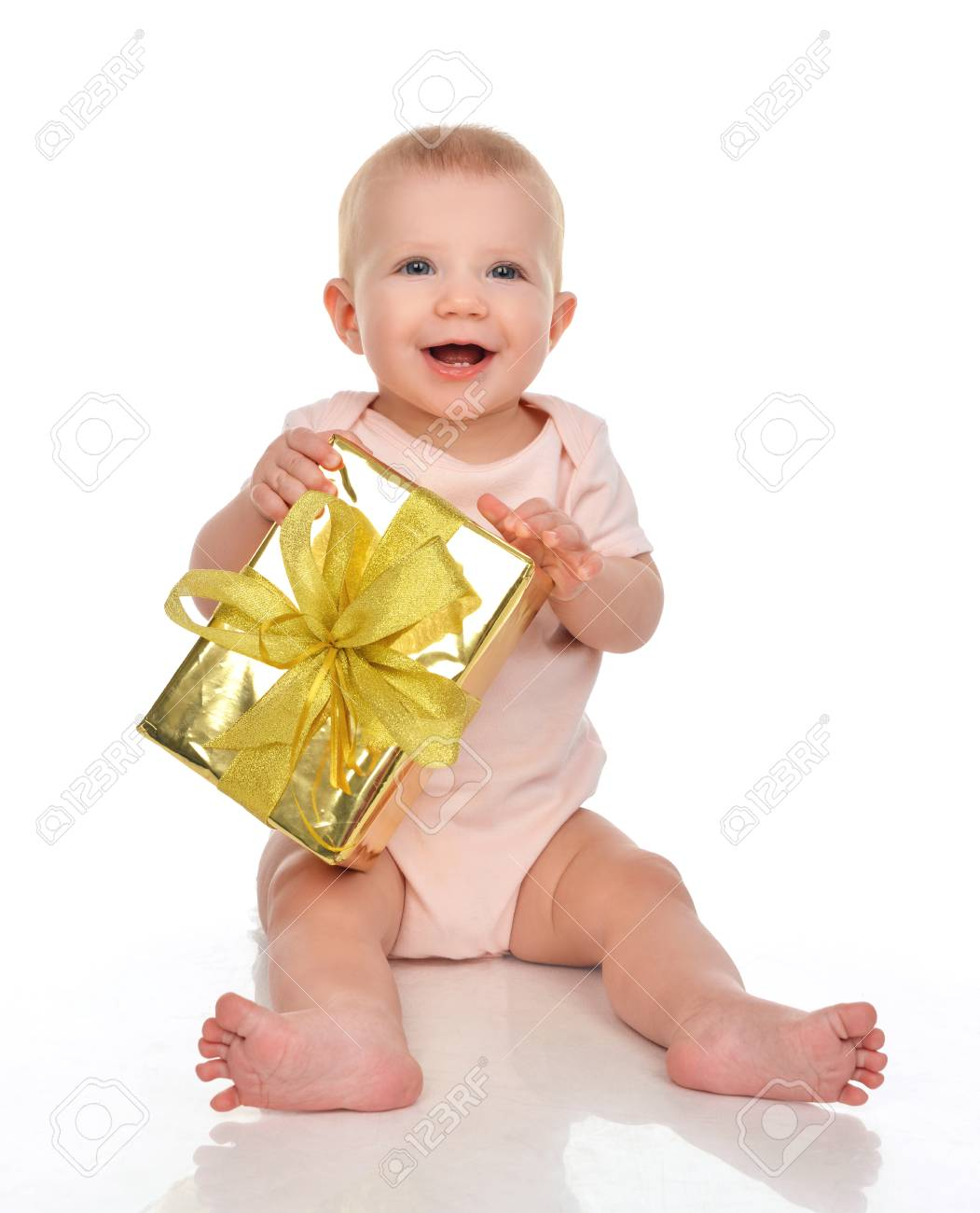 Infant Child Baby Toddler Kid With Gold Present Gift For Birthday Or Valentines Day Isolated On