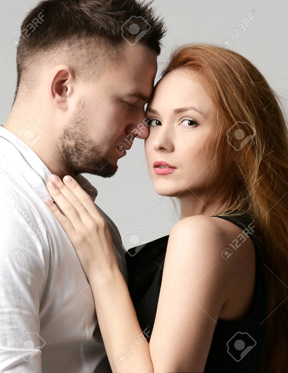 Fashion portrait of young couple love having fun together end