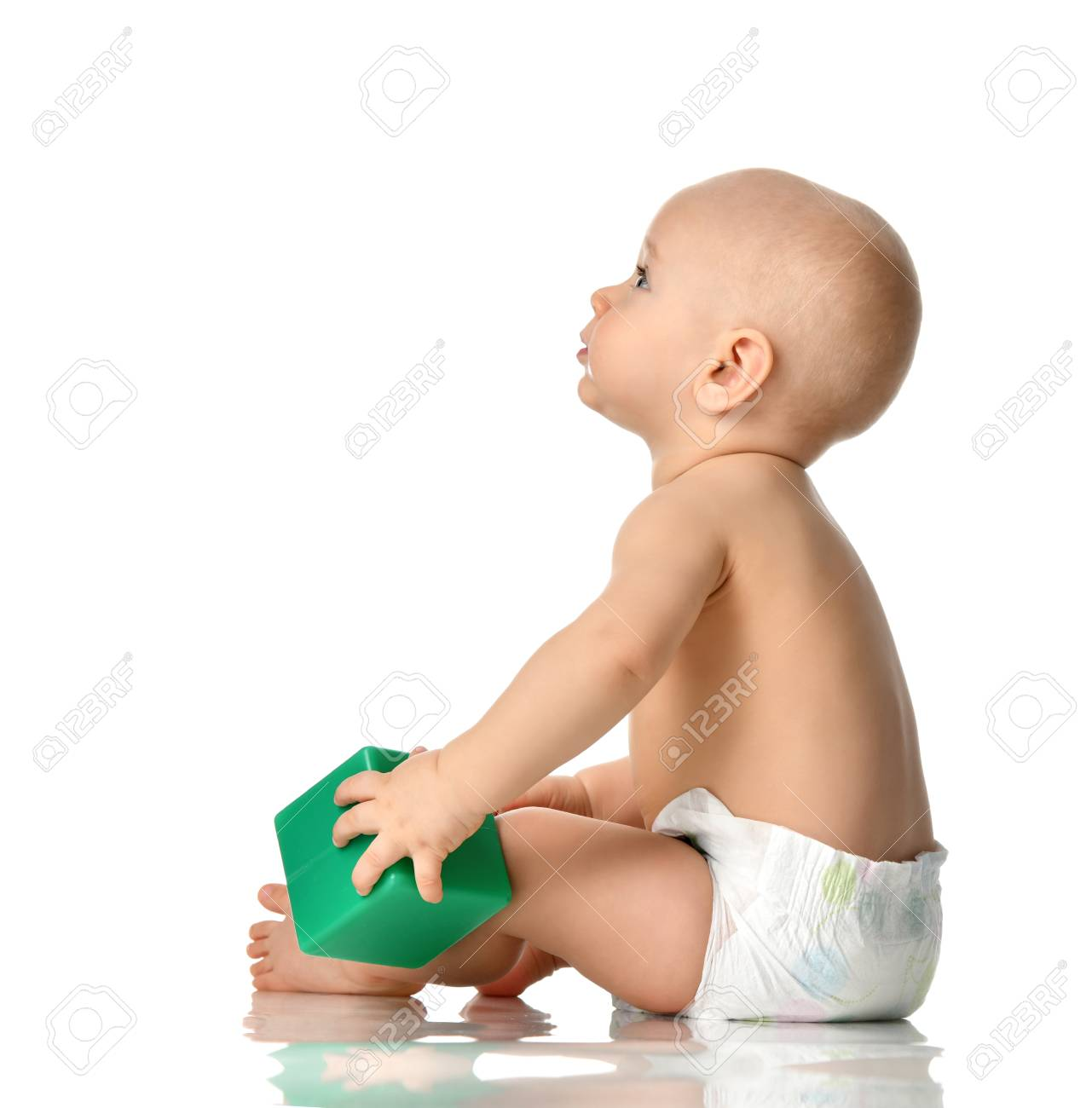 a79657f24381 Infant Child Baby Boy Toddler Sitting Naked In Diaper With Green ...