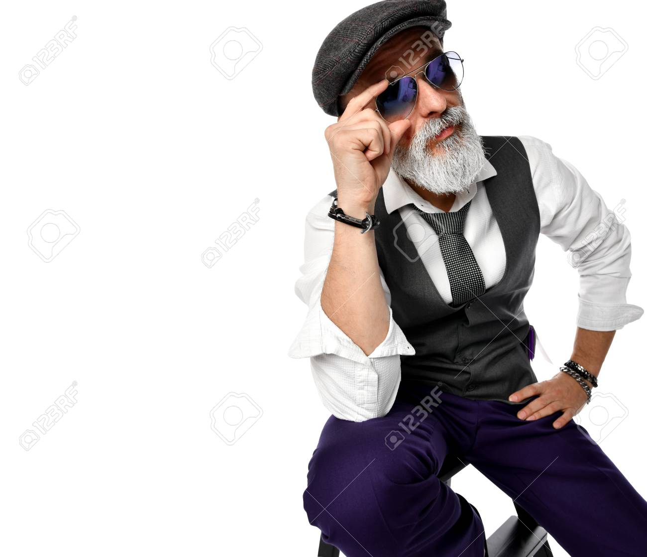 71ab0b4f10f Old brutal senior millionaire man in white shirt and aviator sunglasses  stylish fashionable men isolated on