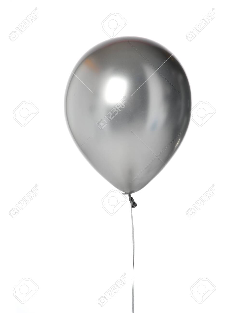 Big silver metallic latex balloon for birthday party isolated on a white background - 134406514