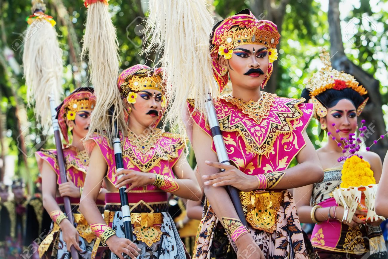 Bali Indonesia June 13 Unidentified People With Traditional