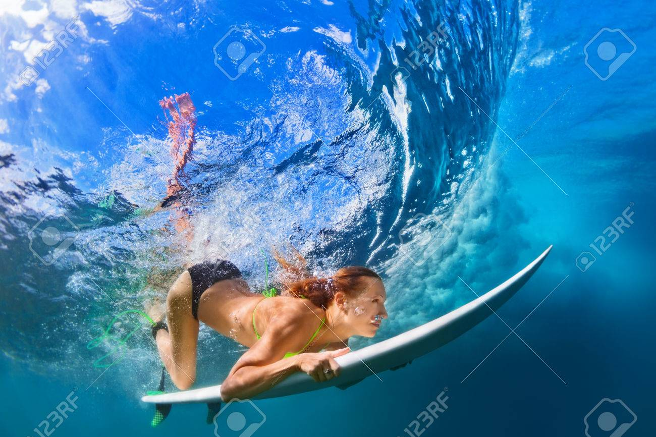 Active Girl In Bikini In Action Surfer Woman With Surf Board