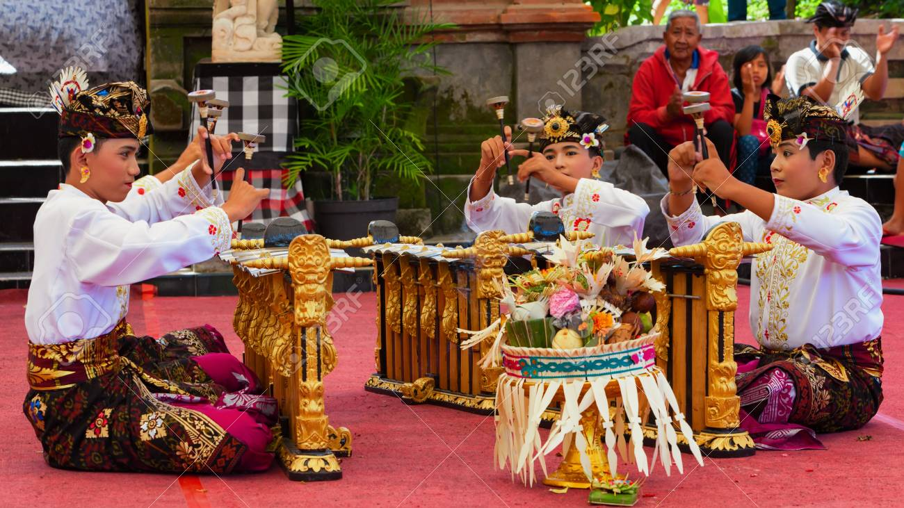 Bali Indonesia June 21 2015 Musicians Of Gamelan Orchestra