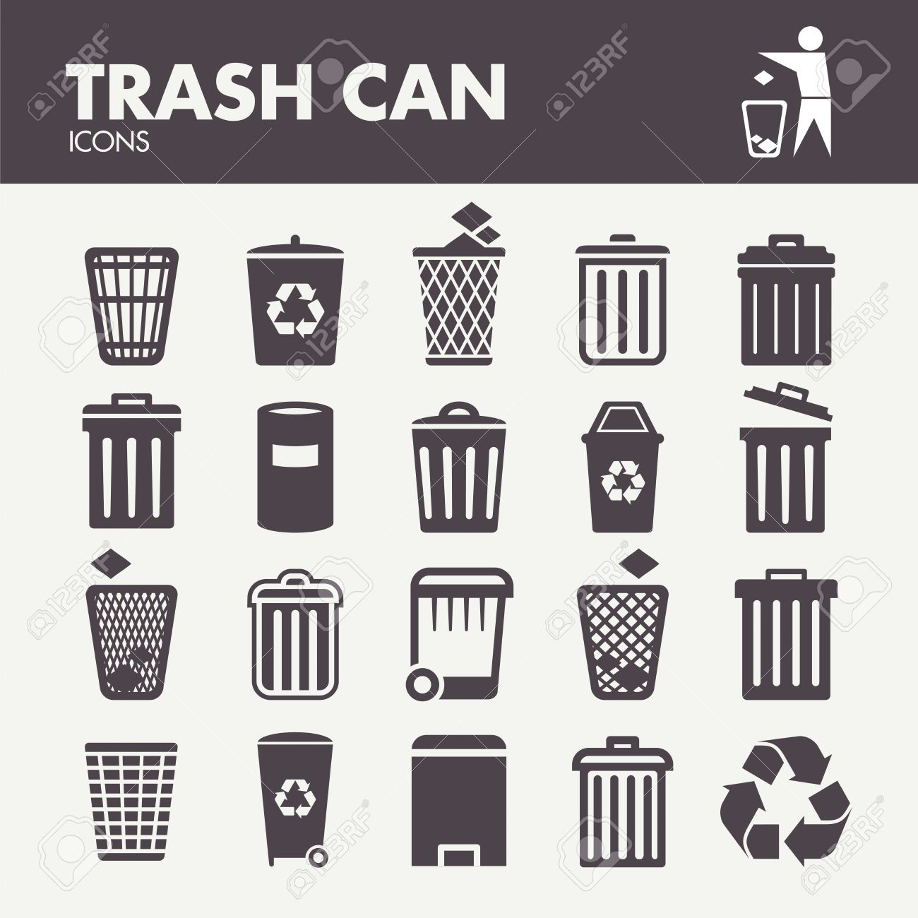 Trash can. Icons set in vector - 48297445