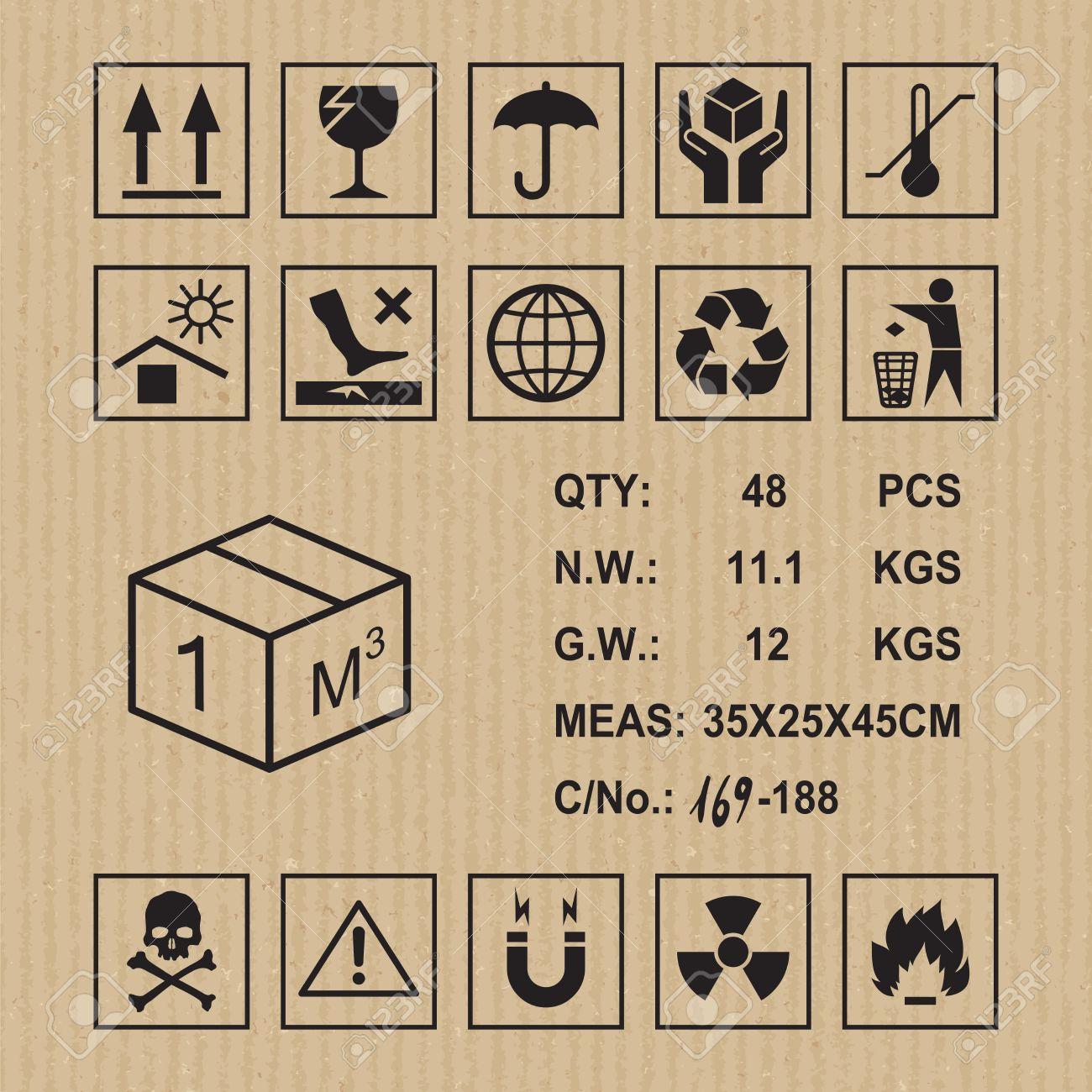 Cargo Symbols On Cardboard Texture Handling Packing And Caution