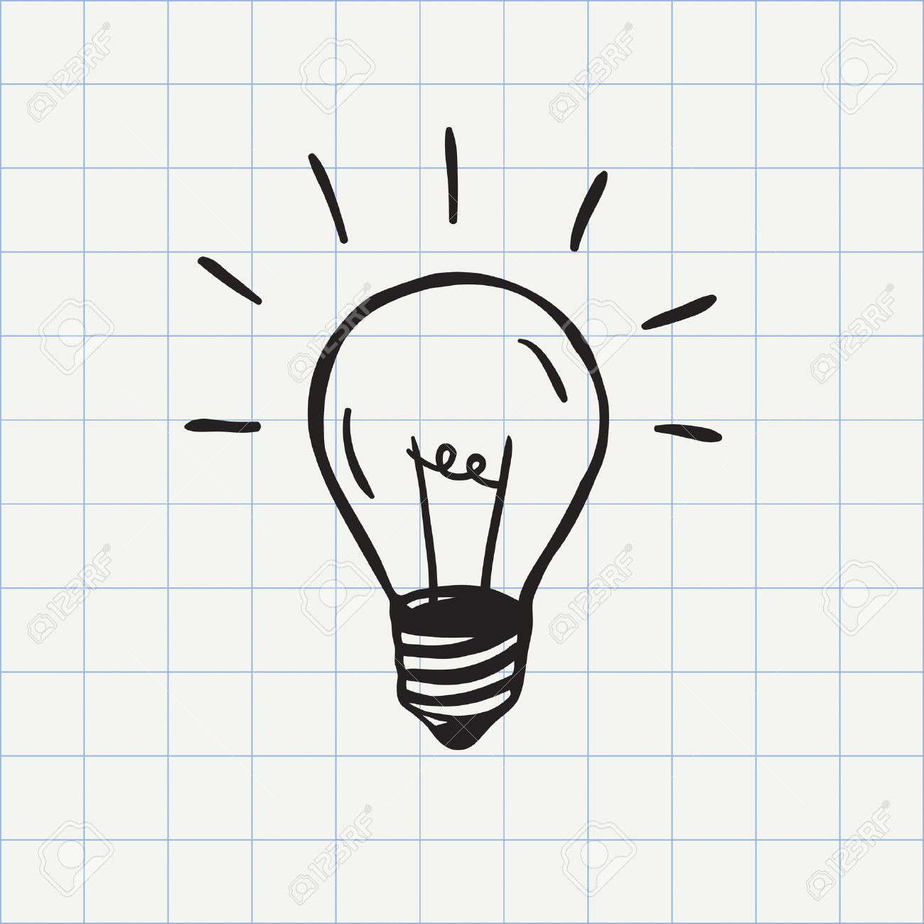 Light bulb icon idea symbol sketch in vector. Hand-drawn doodle sign - 49607034